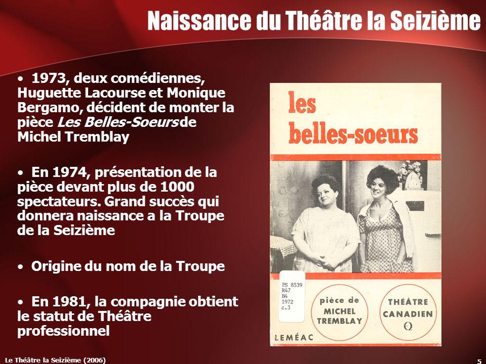 Le Théâtre la Seizième (2006) 5 Naissance du Théâtre la Seizième 1973, deux comédiennes, Huguette Lacourse et Monique Bergamo, décident de monter la pièce Les Belles-Soeurs de Michel Tremblay En 1974, présentation de la pièce devant plus de 1000 spectateurs.