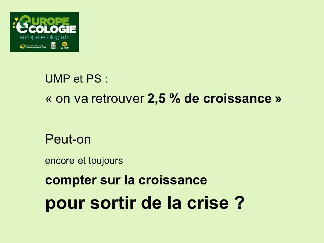 UMP et PS : « on va retrouver 2,5 % de croissance » Peut-on encore et toujours compter sur la croissance pour sortir de la crise