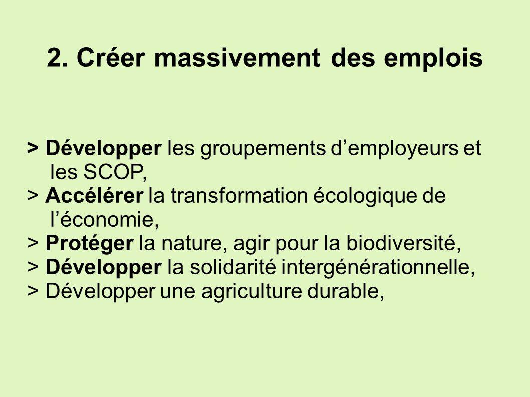 2. Créer massivement des emplois > Développer les groupements demployeurs et les SCOP, > Accélérer la transformation écologique de léconomie, > Protég