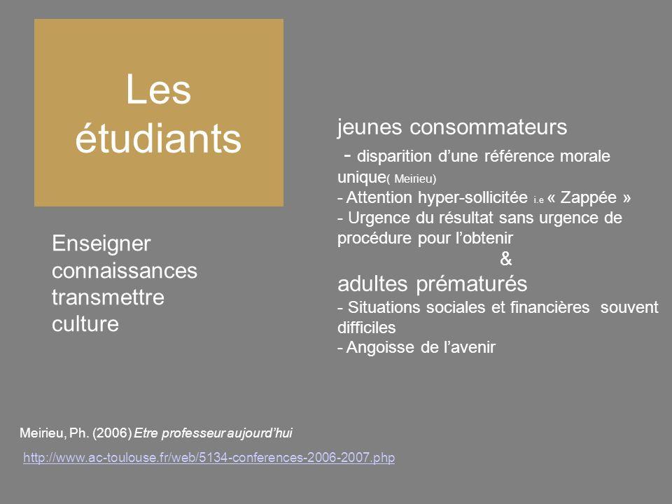 Les étudiants Enseigner connaissances transmettre culture jeunes consommateurs - disparition dune référence morale unique ( Meirieu) - Attention hyper