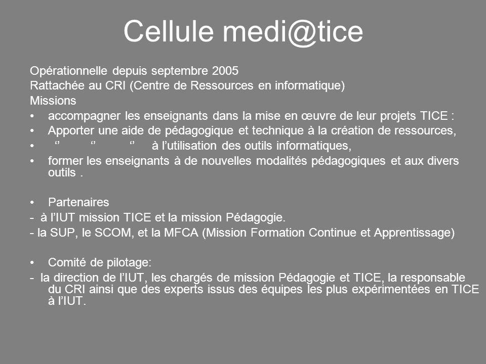 Cellule medi@tice Opérationnelle depuis septembre 2005 Rattachée au CRI (Centre de Ressources en informatique) Missions accompagner les enseignants da