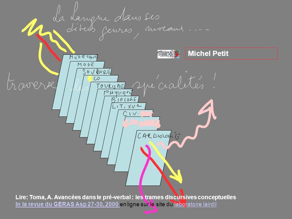 v v Michel Petit Lire: Toma, A. Avancées dans le pré-verbal : les trames discursives conceptuelles In la revue du GERAS Asp 27-30, 2000 en ligne sur l
