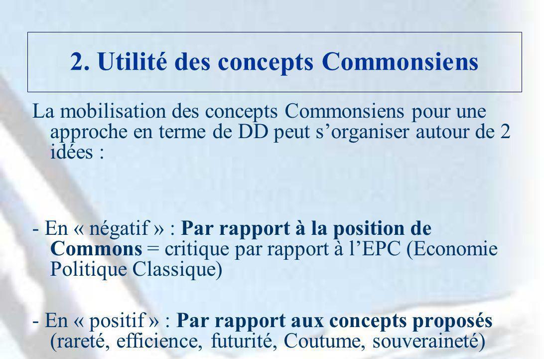 2. Utilité des concepts Commonsiens La mobilisation des concepts Commonsiens pour une approche en terme de DD peut sorganiser autour de 2 idées : - En