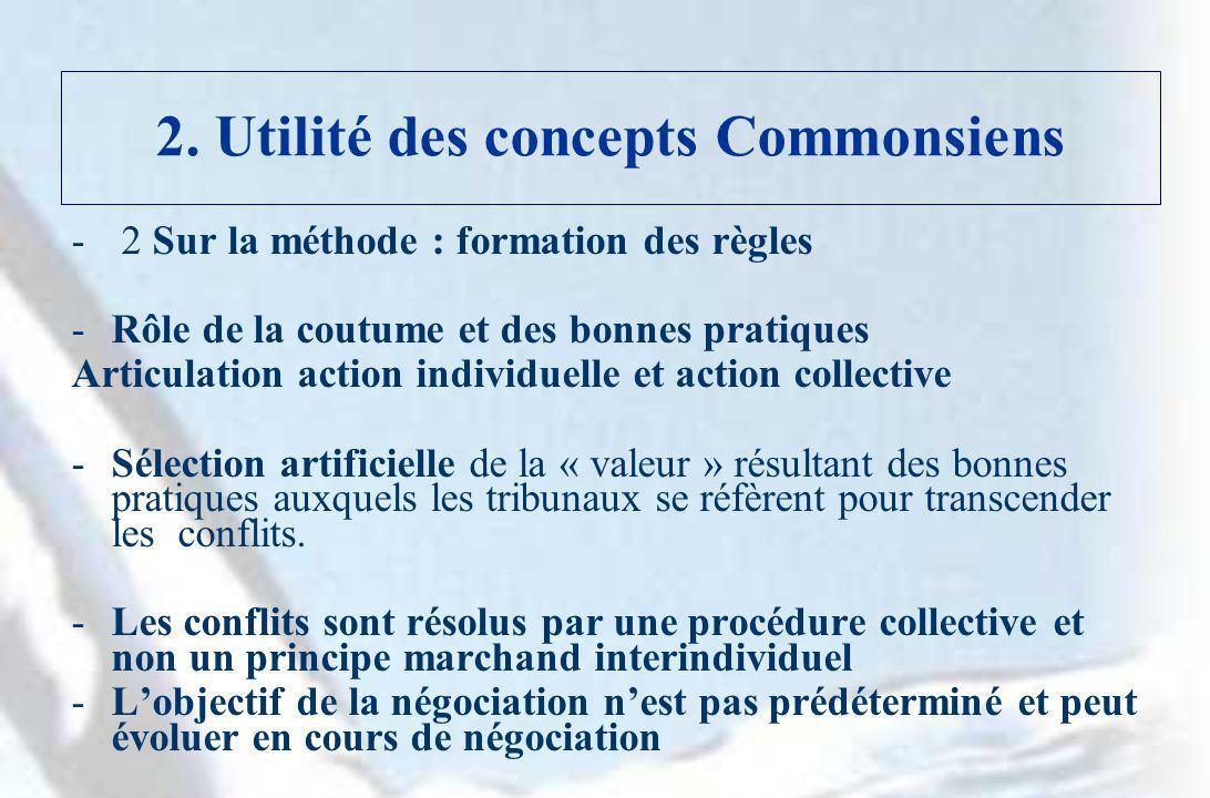 2. Utilité des concepts Commonsiens - 2 Sur la méthode : formation des règles -Rôle de la coutume et des bonnes pratiques Articulation action individu