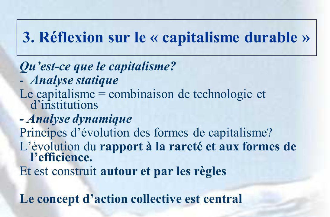 3. Réflexion sur le « capitalisme durable » Quest-ce que le capitalisme? -Analyse statique Le capitalisme = combinaison de technologie et dinstitution