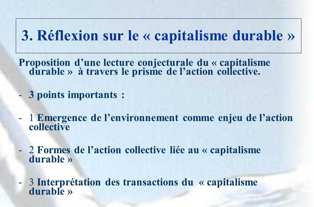 3. Réflexion sur le « capitalisme durable » Proposition dune lecture conjecturale du « capitalisme durable » à travers le prisme de laction collective