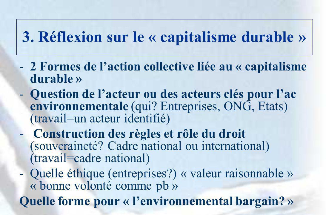 3. Réflexion sur le « capitalisme durable » -2 Formes de laction collective liée au « capitalisme durable » -Question de lacteur ou des acteurs clés p