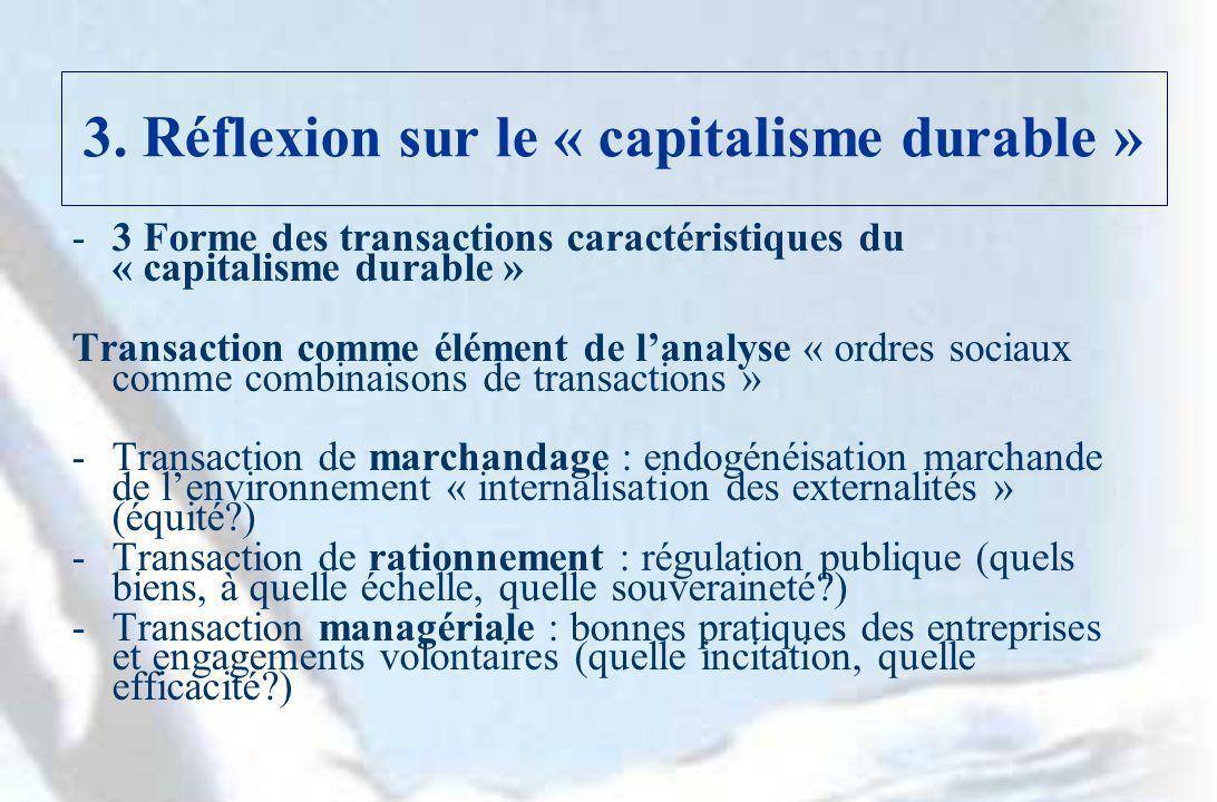 3. Réflexion sur le « capitalisme durable » -3 Forme des transactions caractéristiques du « capitalisme durable » Transaction comme élément de lanalys