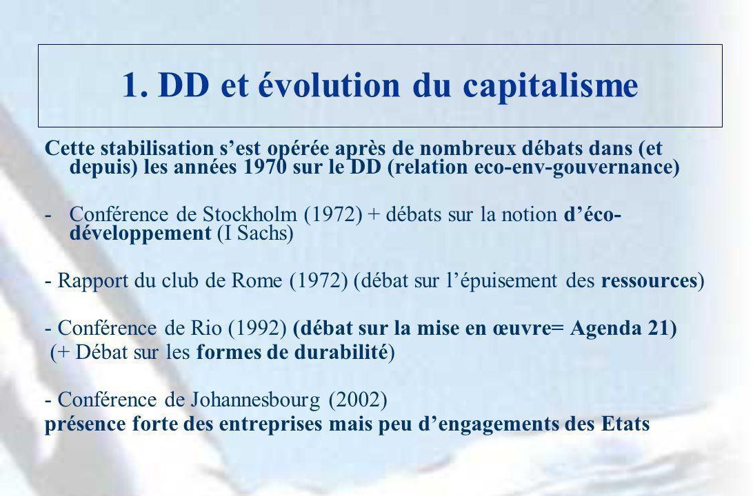 1. DD et évolution du capitalisme Cette stabilisation sest opérée après de nombreux débats dans (et depuis) les années 1970 sur le DD (relation eco-en