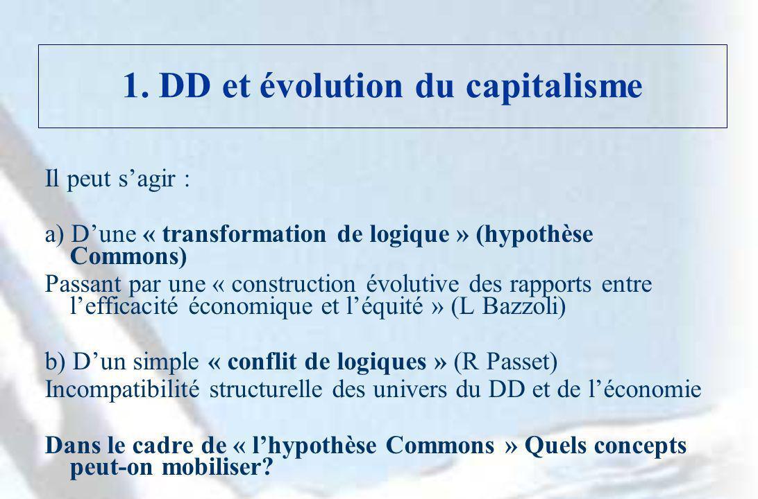 1. DD et évolution du capitalisme Il peut sagir : a) Dune « transformation de logique » (hypothèse Commons) Passant par une « construction évolutive d