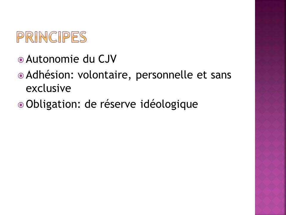 Autonomie du CJV Adhésion: volontaire, personnelle et sans exclusive Obligation: de réserve idéologique