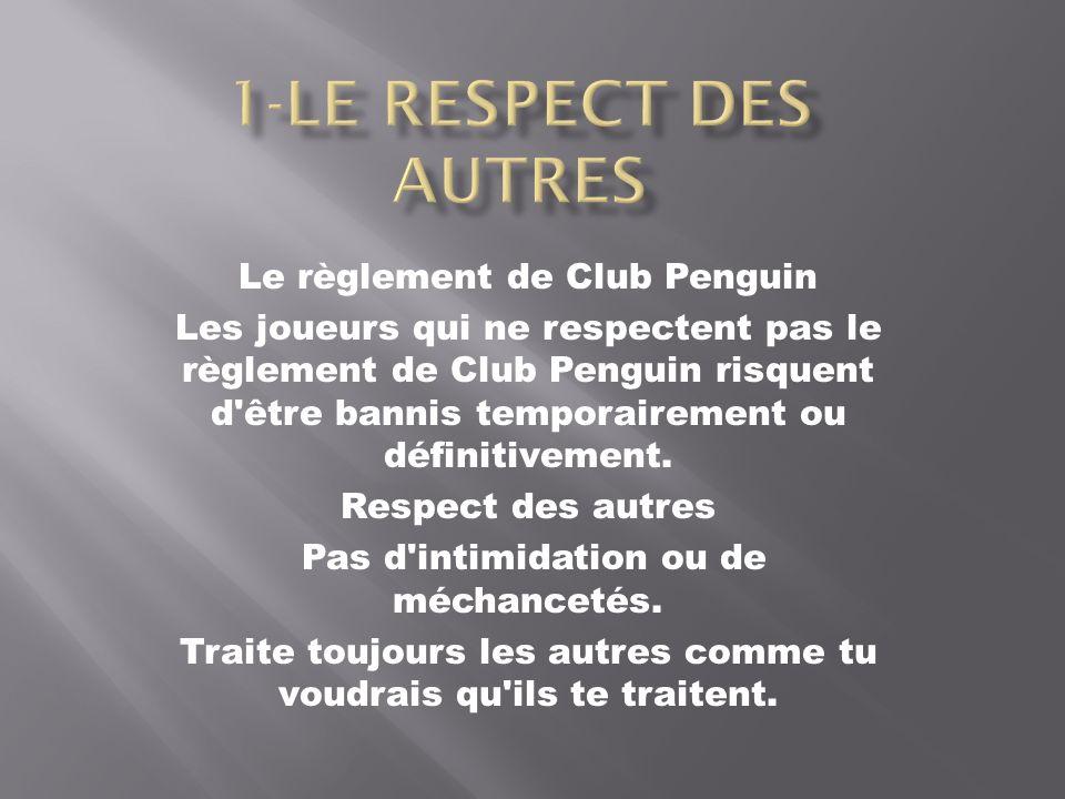 Le règlement de Club Penguin Les joueurs qui ne respectent pas le règlement de Club Penguin risquent d'être bannis temporairement ou définitivement. R