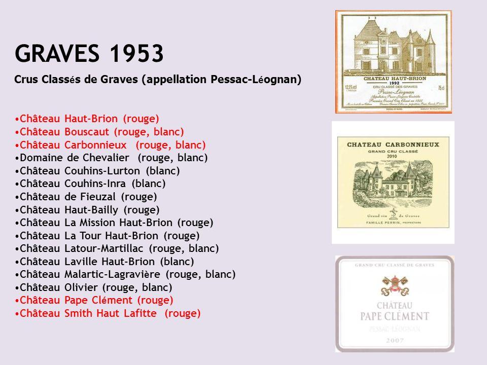 GRAVES 1953 Crus Class é s de Graves (appellation Pessac-L é ognan) Château Haut-Brion (rouge) Château Bouscaut (rouge, blanc) Château Carbonnieux (ro