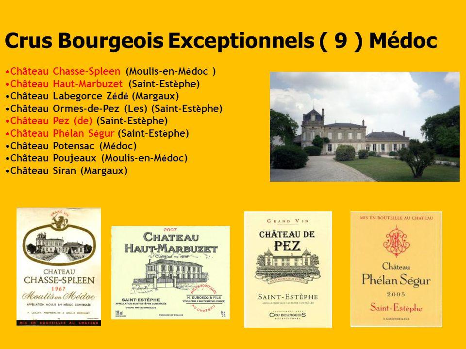 Crus Bourgeois Exceptionnels ( 9 ) Médoc Château Chasse-Spleen (Moulis-en-M é doc ) Château Haut-Marbuzet (Saint-Est è phe) Château Labegorce Z é d é