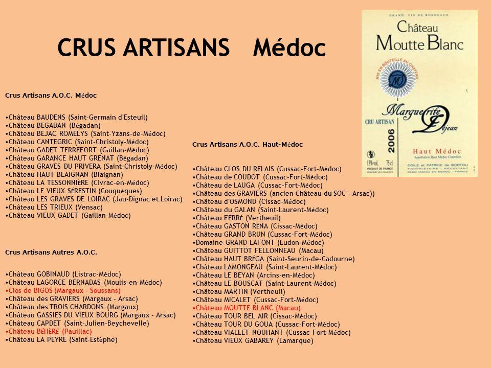Crus Artisans A.O.C. M é doc Château BAUDENS (Saint-Germain d'Esteuil) Château BEGADAN (B é gadan) Château BEJAC ROMELYS (Saint-Yzans-de-M é doc) Chât