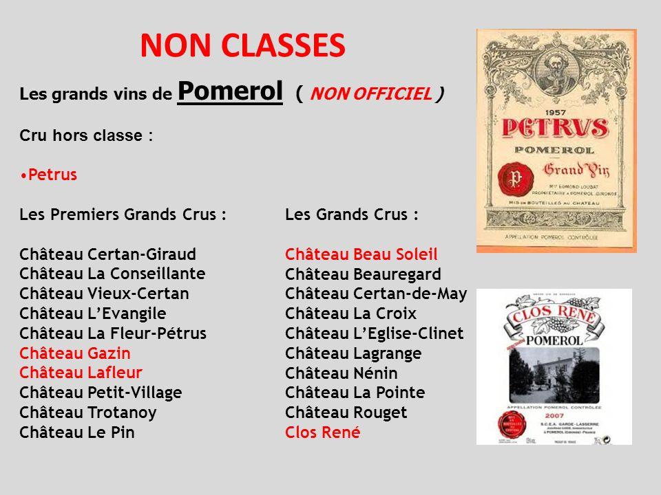 NON CLASSES Les grands vins de Pomerol ( NON OFFICIEL ) Cru hors classe : Petrus Les Premiers Grands Crus : Château Certan-Giraud Château La Conseilla
