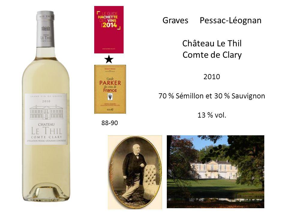 Graves Pessac-Léognan Château Le Thil Comte de Clary 2010 70 % Sémillon et 30 % Sauvignon 13 % vol. 88-90
