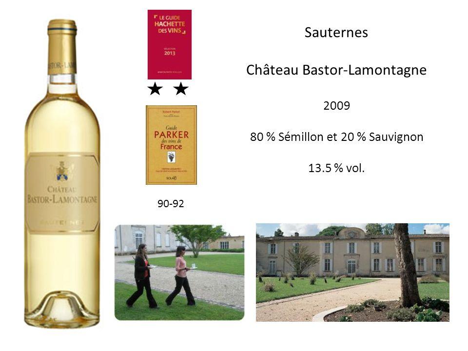 Sauternes Château Bastor-Lamontagne 2009 80 % Sémillon et 20 % Sauvignon 13.5 % vol. 90-92