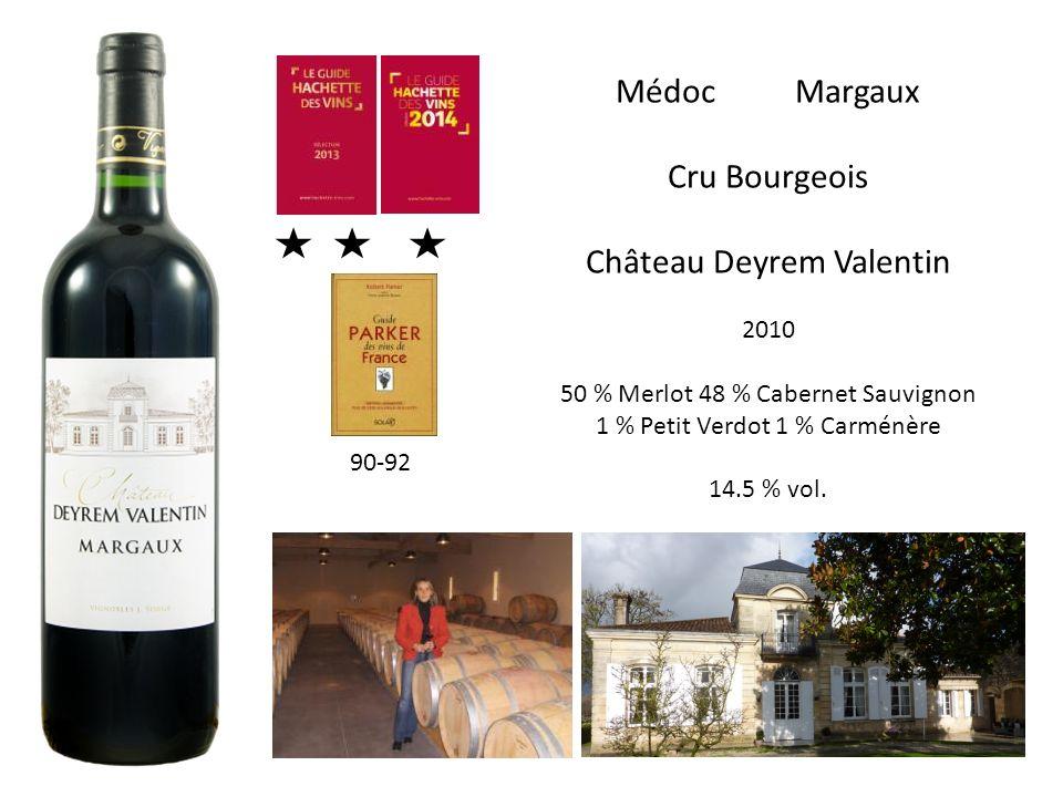 Médoc Margaux Cru Bourgeois Château Deyrem Valentin 2010 50 % Merlot 48 % Cabernet Sauvignon 1 % Petit Verdot 1 % Carménère 14.5 % vol. 90-92