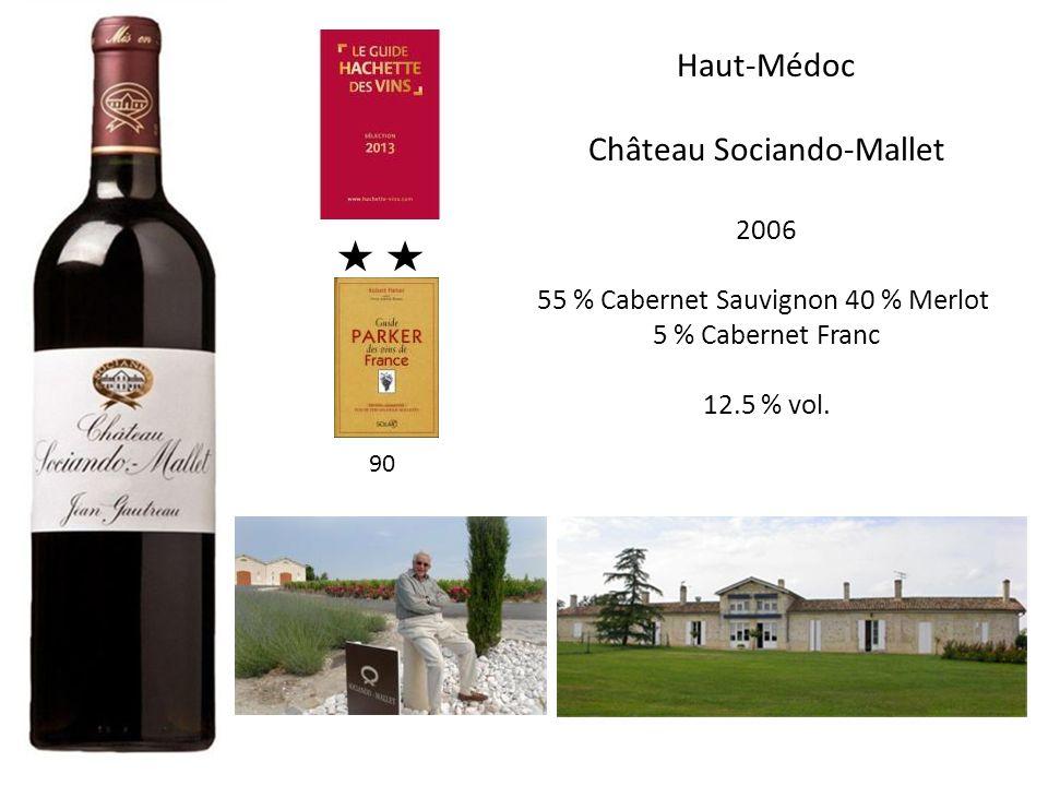 Haut-Médoc Château Sociando-Mallet 2006 55 % Cabernet Sauvignon 40 % Merlot 5 % Cabernet Franc 12.5 % vol. 90