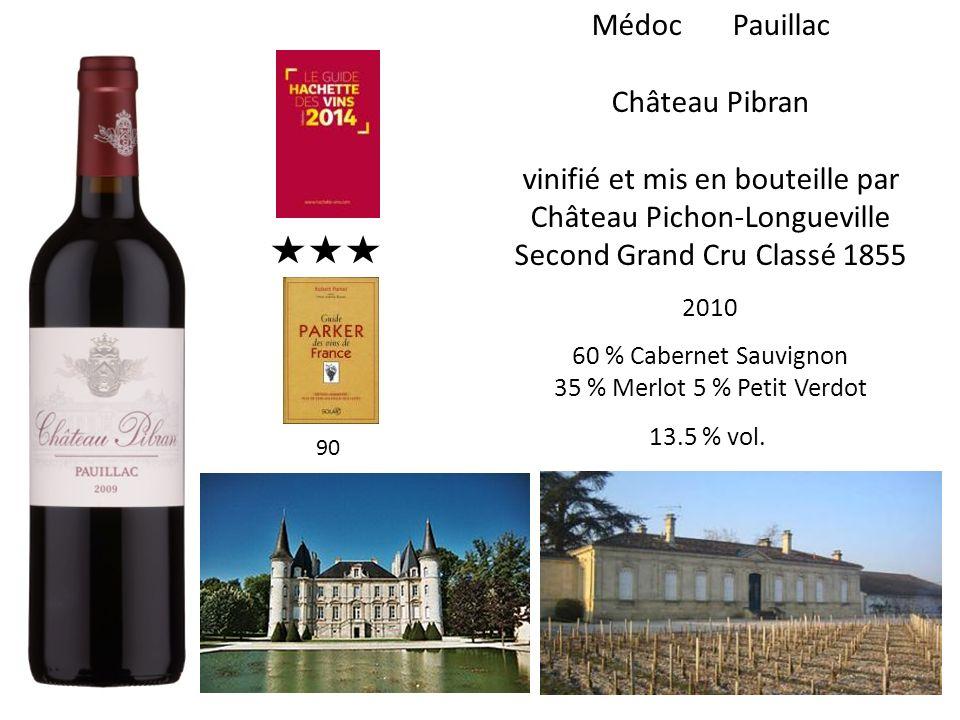 Médoc Pauillac Château Pibran vinifié et mis en bouteille par Château Pichon-Longueville Second Grand Cru Classé 1855 2010 60 % Cabernet Sauvignon 35