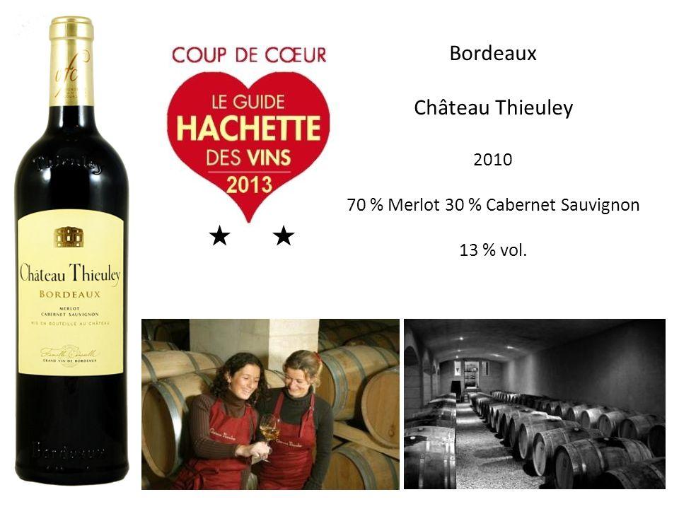 Bordeaux Château Thieuley 2010 70 % Merlot 30 % Cabernet Sauvignon 13 % vol.