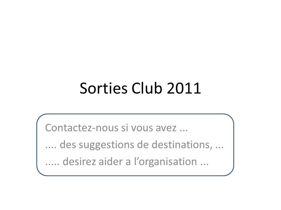 Sorties Club 2011 Contactez-nous si vous avez.......