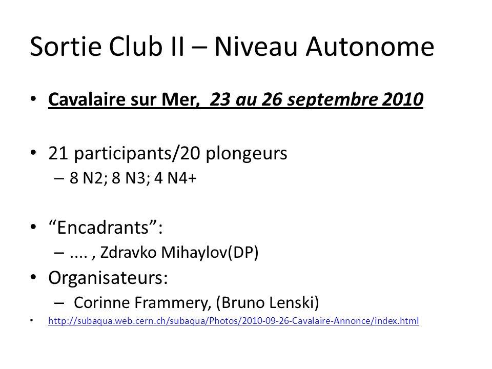 Sortie Club II – Niveau Autonome Cavalaire sur Mer, 23 au 26 septembre 2010 21 participants/20 plongeurs – 8 N2; 8 N3; 4 N4+ Encadrants: –...., Zdravk