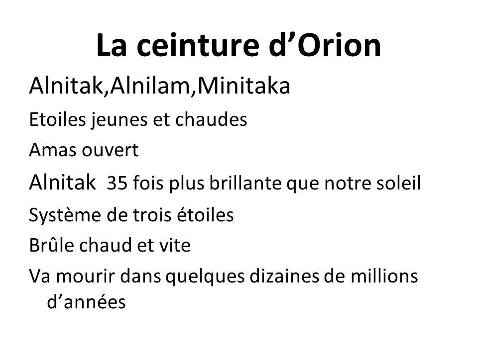 La ceinture dOrion Alnitak,Alnilam,Minitaka Etoiles jeunes et chaudes Amas ouvert Alnitak 35 fois plus brillante que notre soleil Système de trois éto