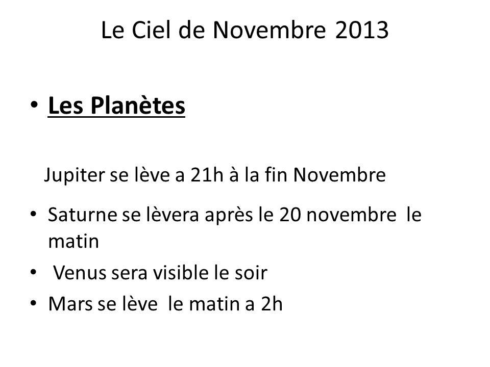 Le Ciel de Novembre 2013 Les Planètes Jupiter se lève a 21h à la fin Novembre Saturne se lèvera après le 20 novembre le matin Venus sera visible le so