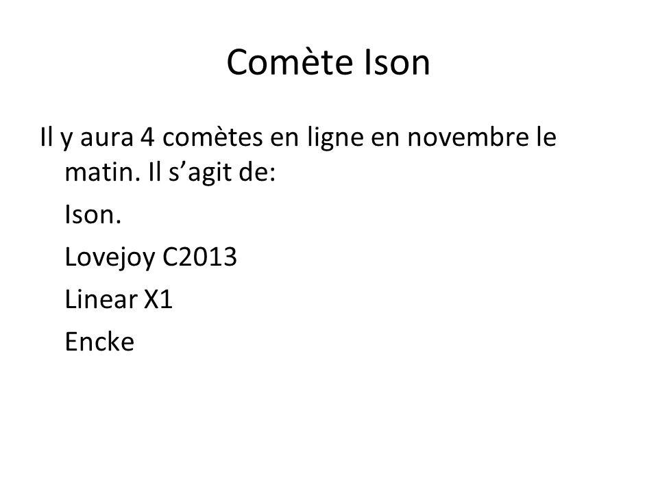 Comète Ison Il y aura 4 comètes en ligne en novembre le matin. Il sagit de: Ison. Lovejoy C2013 Linear X1 Encke
