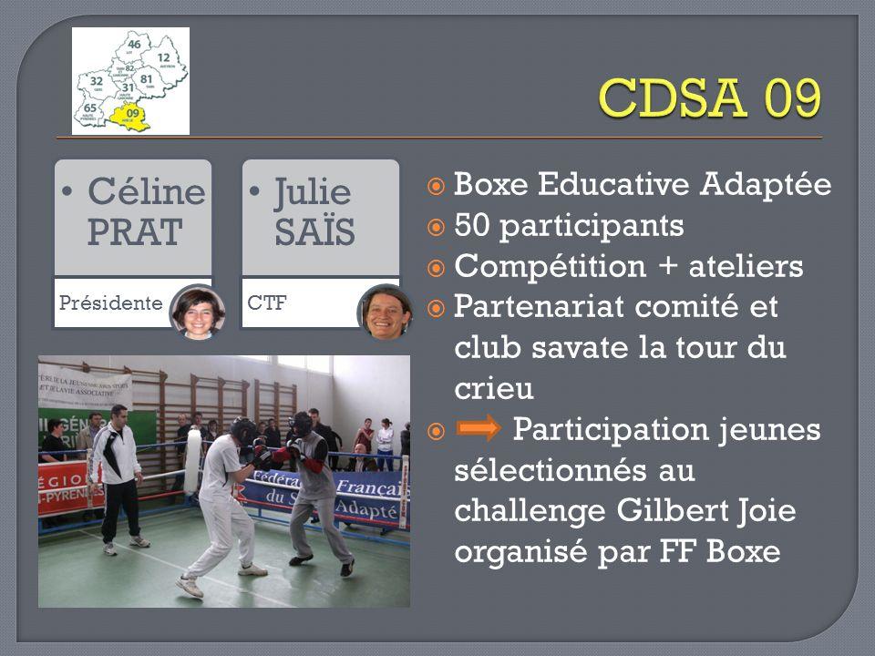 Céline PRAT Présidente Julie SAÏS CTF Boxe Educative Adaptée 50 participants Compétition + ateliers Partenariat comité et club savate la tour du crieu