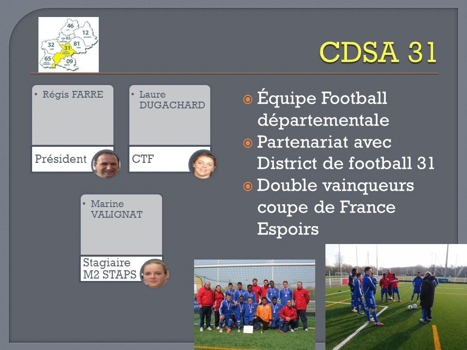 Régis FARRE Président Laure DUGACHARD CTF Marine VALIGNAT Stagiaire M2 STAPS Équipe Football départementale Partenariat avec District de football 31 D