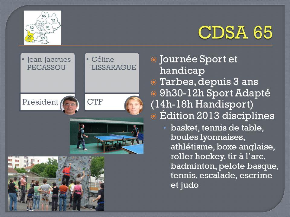 Jean-Jacques PECASSOU Président Céline LISSARAGUE CTF Journée Sport et handicap Tarbes, depuis 3 ans 9h30-12h Sport Adapté (14h-18h Handisport) Éditio