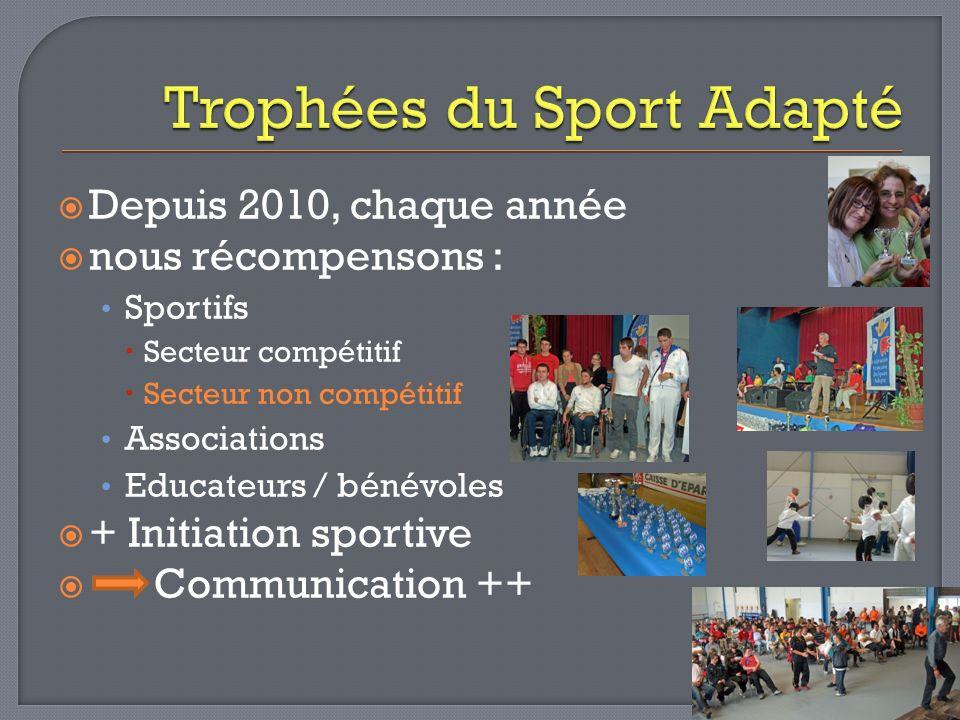 Depuis 2010, chaque année nous récompensons : Sportifs Secteur compétitif Secteur non compétitif Associations Educateurs / bénévoles + Initiation spor