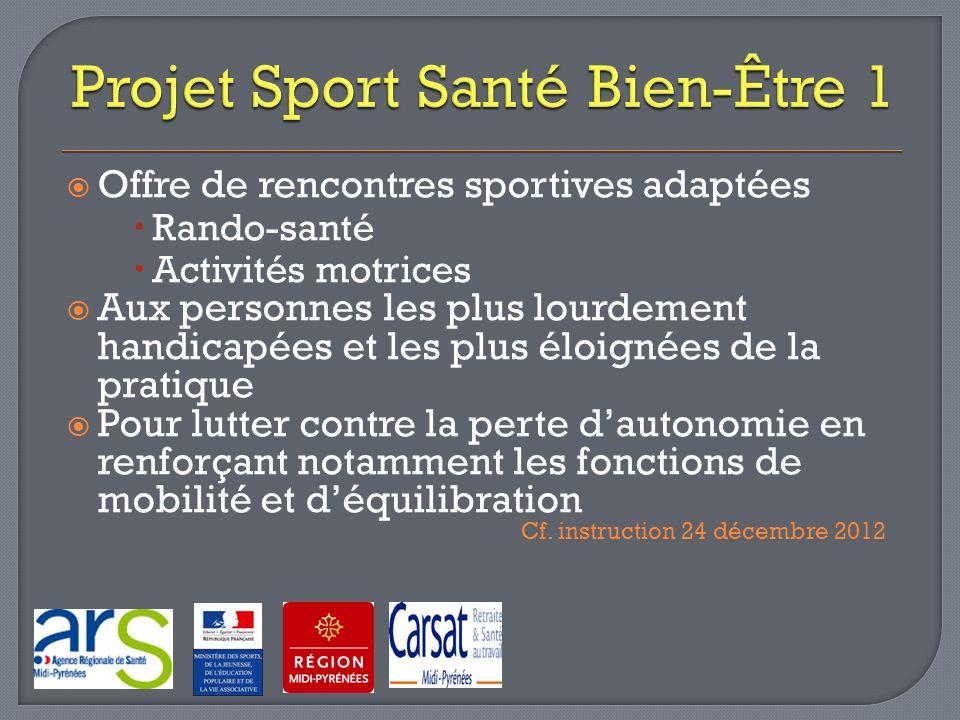 Offre de rencontres sportives adaptées Rando-santé Activités motrices Aux personnes les plus lourdement handicapées et les plus éloignées de la pratiq