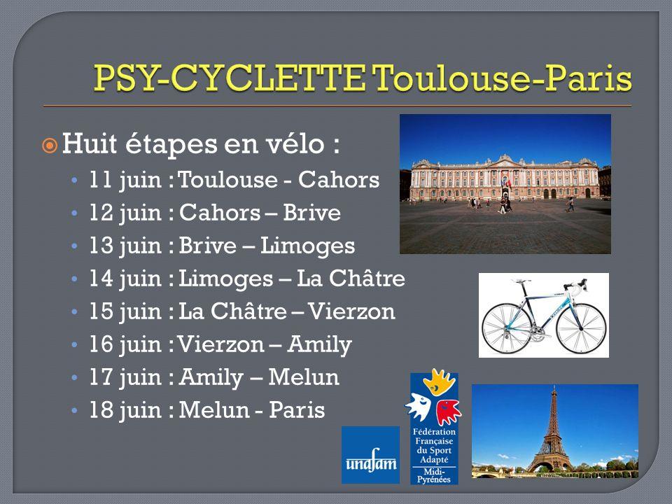 Huit étapes en vélo : 11 juin : Toulouse - Cahors 12 juin : Cahors – Brive 13 juin : Brive – Limoges 14 juin : Limoges – La Châtre 15 juin : La Châtre