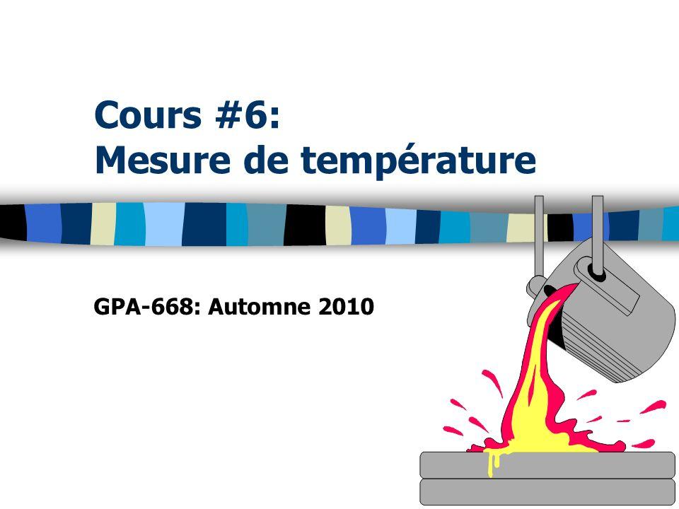 Capteurs et détecteurs de température La température est une grandeur non- directement mesurable, mais repérable par la variation dune grandeur associée: Variation dimpédance (ex.