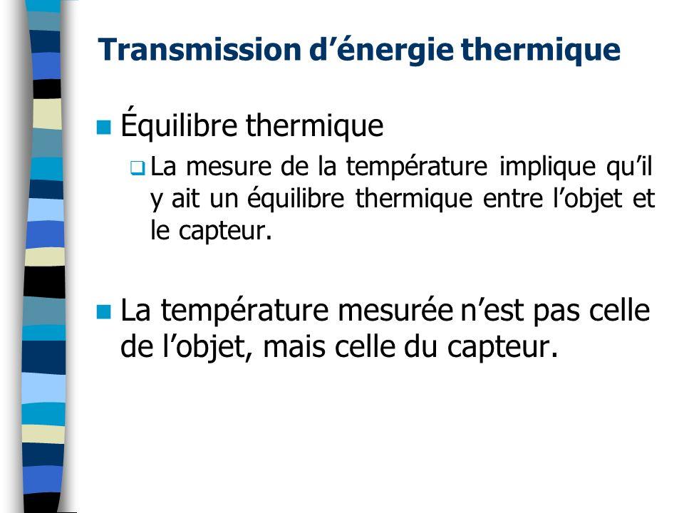 Transmission dénergie thermique Équilibre thermique La mesure de la température implique quil y ait un équilibre thermique entre lobjet et le capteur.