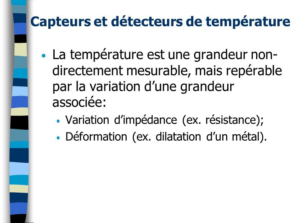 Critères de sélection Gamme de température Précision souhaitée Temps de réponse Masse/volume du capteur Équilibre thermique Accessibilité/Environnement