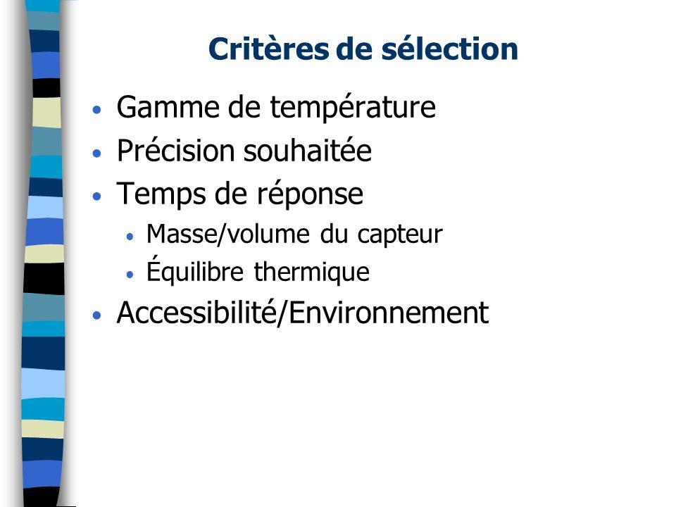 Capteurs et détecteurs de température (2) Avec contact: – Analogique: Couples thermoélectriques (Thermocouples); Thermomètres à résistance métallique; Thermomètres à semi-conducteur; Thermomètres à quartz; Thermomètres à dilatation de fluide.