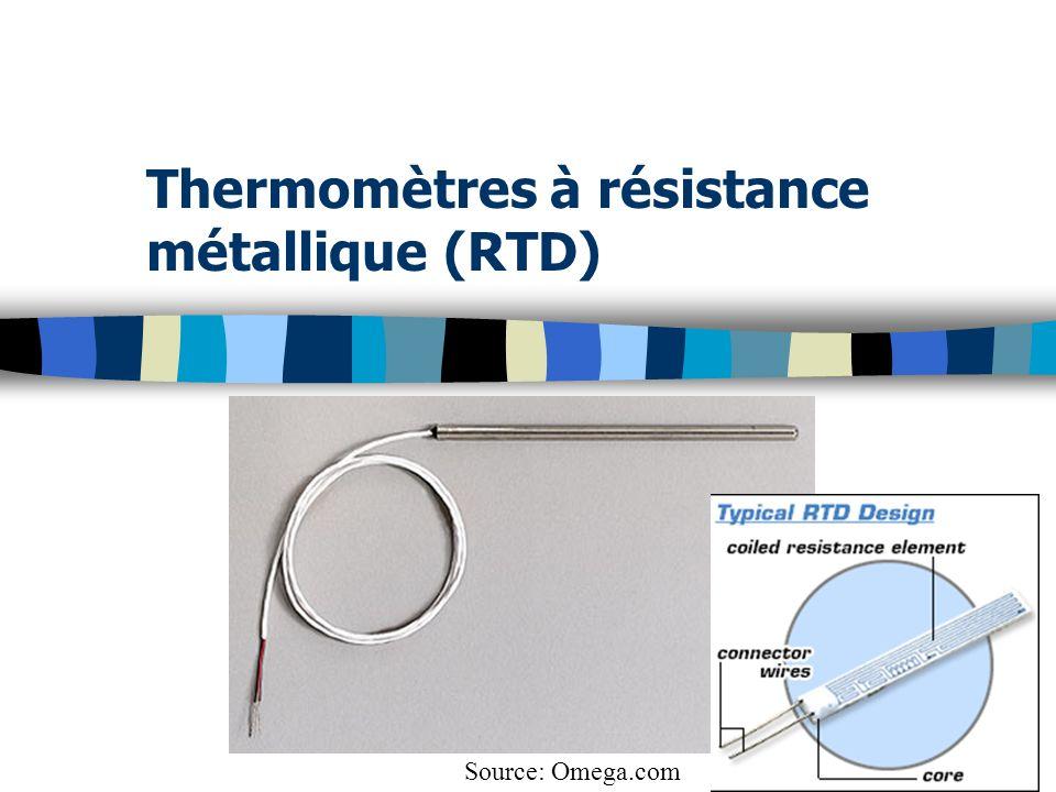 Thermomètres à résistance métallique (RTD) Source: Omega.com