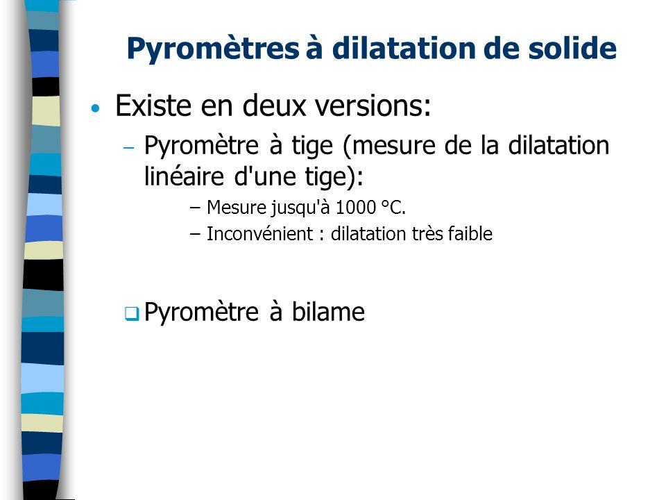 Pyromètres à dilatation de solide Existe en deux versions: – Pyromètre à tige (mesure de la dilatation linéaire d'une tige): –Mesure jusqu'à 1000 °C.