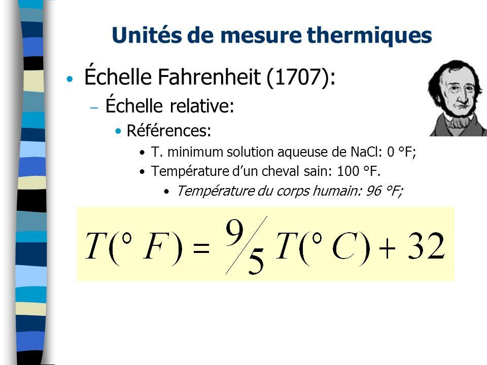 Unités de mesure thermiques Échelle Fahrenheit (1707): – Échelle relative: Références: T. minimum solution aqueuse de NaCl: 0 °F; Température dun chev