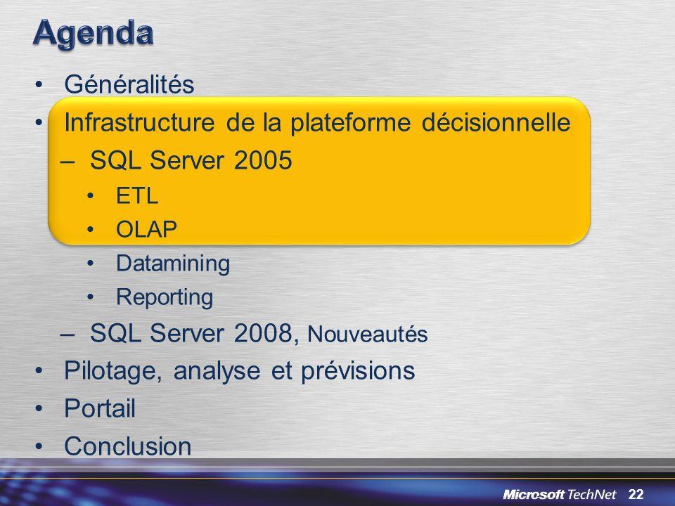 22 Généralités Infrastructure de la plateforme décisionnelle –SQL Server 2005 ETL OLAP Datamining Reporting –SQL Server 2008, Nouveautés Pilotage, ana