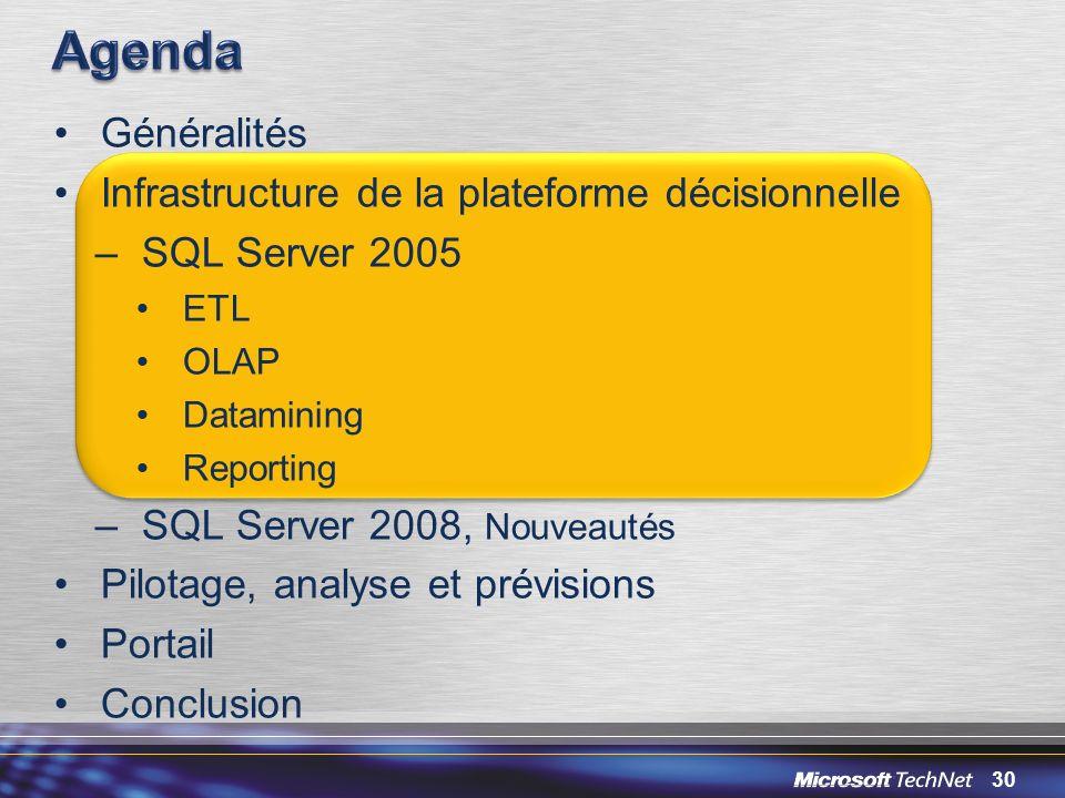 30 Généralités Infrastructure de la plateforme décisionnelle –SQL Server 2005 ETL OLAP Datamining Reporting –SQL Server 2008, Nouveautés Pilotage, ana
