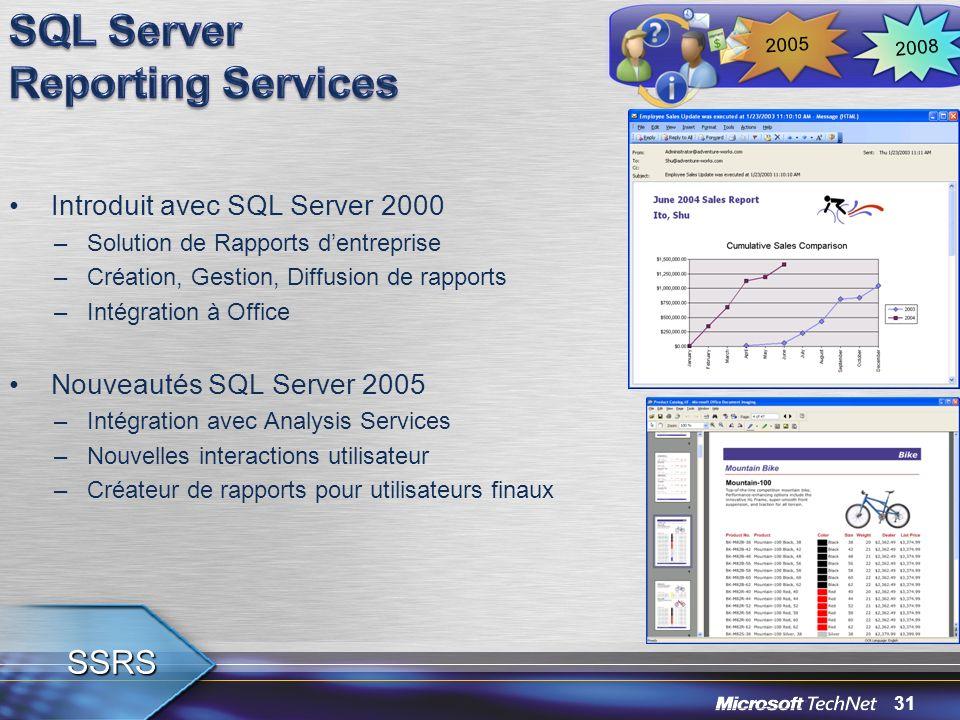 31 Introduit avec SQL Server 2000 –Solution de Rapports dentreprise –Création, Gestion, Diffusion de rapports –Intégration à Office Nouveautés SQL Ser