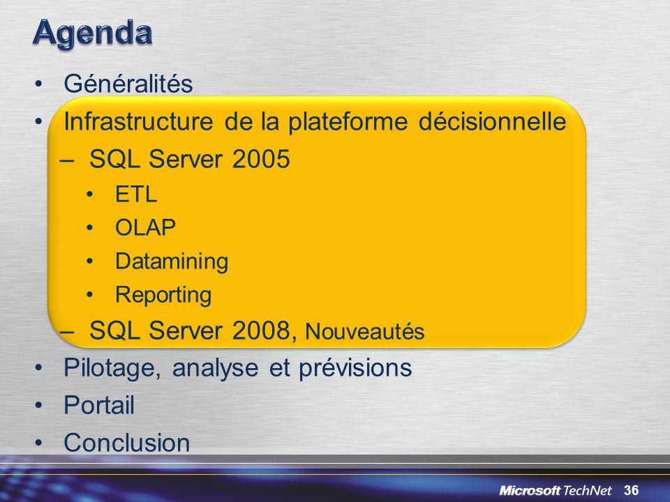 36 Généralités Infrastructure de la plateforme décisionnelle –SQL Server 2005 ETL OLAP Datamining Reporting –SQL Server 2008, Nouveautés Pilotage, ana