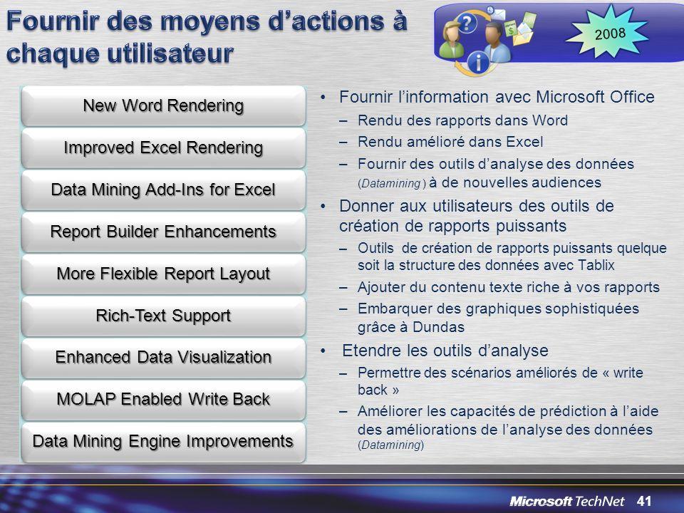 41 Fournir linformation avec Microsoft Office –Rendu des rapports dans Word –Rendu amélioré dans Excel –Fournir des outils danalyse des données (Datam