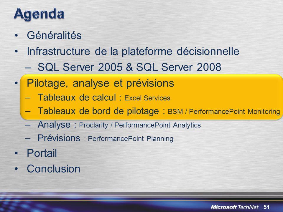 51 Généralités Infrastructure de la plateforme décisionnelle –SQL Server 2005 & SQL Server 2008 Pilotage, analyse et prévisions –Tableaux de calcul :